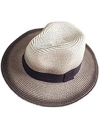 Leisial Sombrero de Playa con Paja Sombrero al Aire Libre del Sol de Gorro  Protección Solar 88aa3c3ec07