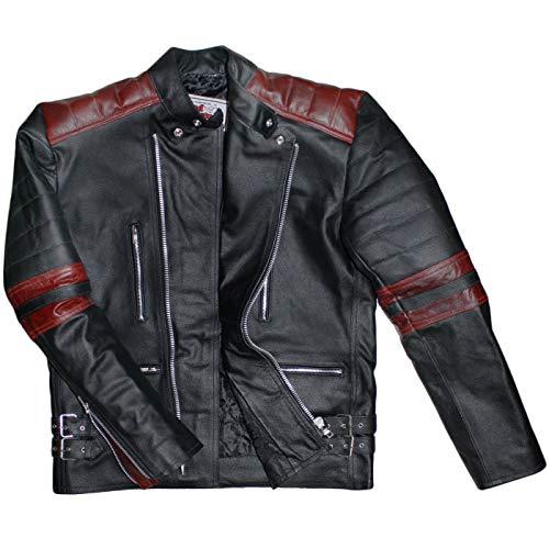 German Wear Leder Motorradjacke Oldschool Retro, Schwarz/Rot, 48 -