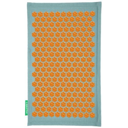 Tapis d'acupression Champ de Fleurs - Soulage les douleurs de dos naturellement (Turquoise - Orange)
