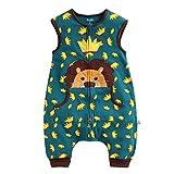 GWELL Baby Kinder Schlummersack Schlafsack Strampler mit Beinen Füßen aus Baumwolle Schlafanzug für Jungen Mädchen Löwe Grün L