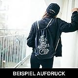 HASHTAGSTUFF® Turnbeutel mit Spruch / verschiedene Sprüche & Designs auswählbar / Beutel: Schwarz / Rucksack / Jutebeutel / Sportbeutel / Hipster -