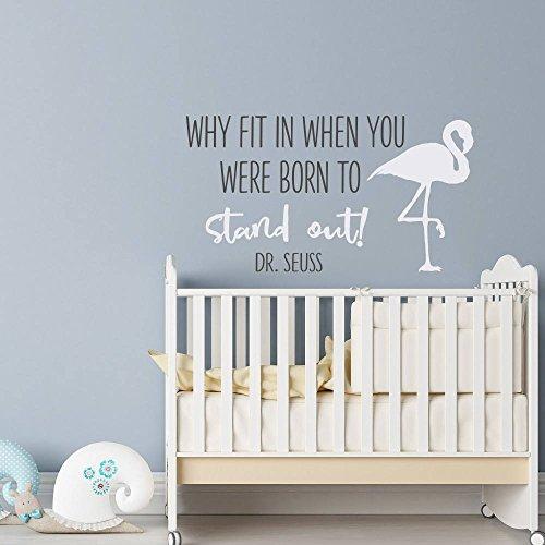 N.SunForest Buchstabenaufkleber Why Fit In When You were Born to Stand Out, Wandaufkleber Art Dr. Seuss Kinderzimmer-Dekoration, 50,8 x 91,4 cm (Seuss Dr Dekorationen)