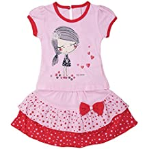 ICABLE High Quality Baby Girls Cute Cotton Top & Skirt Set – Super Fashionable – Available in Cool Summer Colors, Pink & Green (Pink, 6-12 Months)