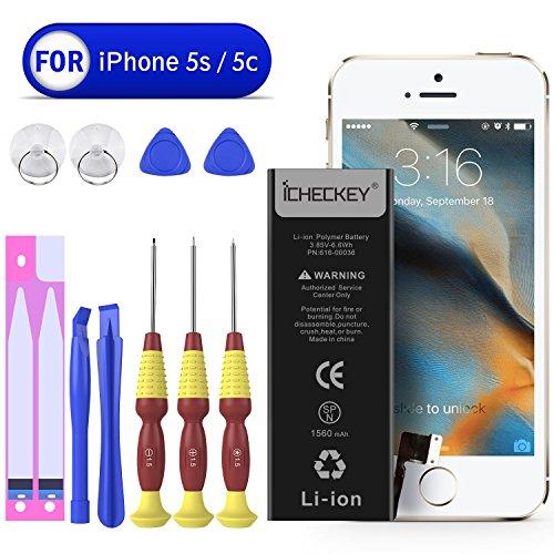 Icheckey Ersatz-Akku für iPhone 5S/iPhone 5C Batterie 1560mAh Battery Lithium-Ionen Accu inkl. Akku-Wechsel Kit mit Klebestreifen Akku-Austausch Anleitung