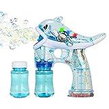 Xpizo Seifenblasenpistolen Elektrisch Delphin Bubble Gun Leuchte LED mit Musik (Blau)