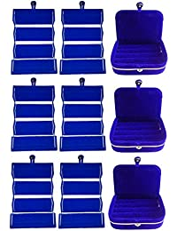 Afrose Combo 6 Pc Blue Earring Folder And 3 Pc Blue Ear Ring Box Jewelry Vanity Box