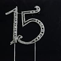 ELECTROPRIME Rhinestone Number for 15th Anniversary Birthday Cake Topper Cake Decoration