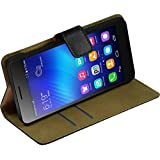 PhoneNatic Kunst-Lederhülle für Huawei Honor 6 Wallet schwarz Tasche Honor 6 Hülle + 2 Schutzfolien