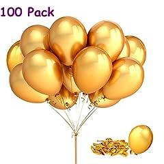 Idea Regalo - Joykey 12 pollici di palloncini d'oro per il festival del matrimonio di compleanno, Palloncino in lattice di 100 pezzi