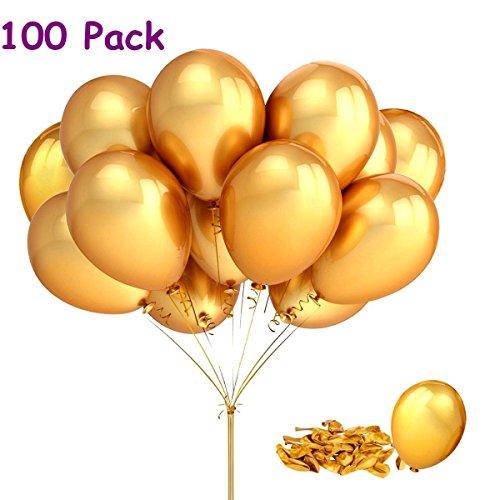 Joykey 12 pulgadas de globos de partido de dorado para el festival de bodas de cumpleaños, 100 piezas de látex Globos