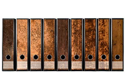 Juego con 9pieza amplia carpeta de madera rústica etiquetas autoadhesivas archivadores Pegatinas Diseño Marrón Madera Vintage