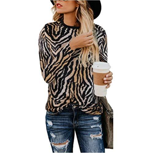 CLOOM Mujer Camisetas y Tops Leopardo Impresión, Trajes y Blazers Gasa de Manga Larga Blusas Casuales de Mujer Cuello Redondo Talla Grande Desgastar Invierno Base
