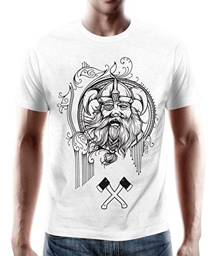 adrotes – T-Shirt WIKINGER ZOTTELBART weiß Gr. S - - Kleinkind-shirt Wikinger