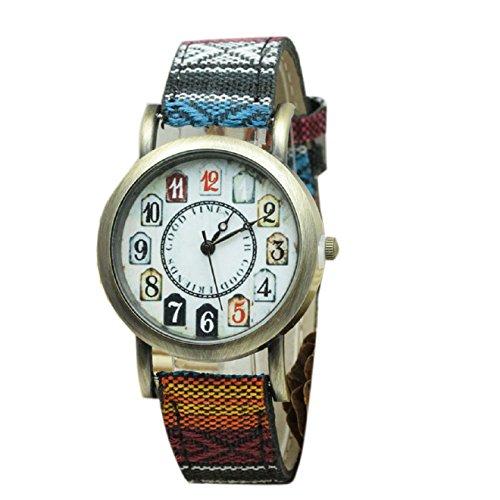 Malloom® retro personalizado digital tela de mezclilla banda de correa analógico cuarzo reloj de pulsera