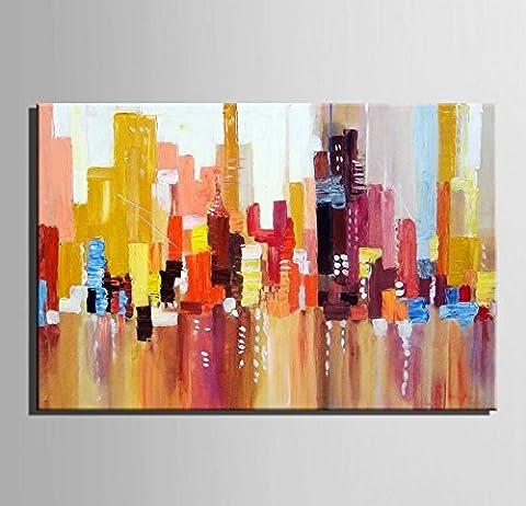 GY&H Art-The Abstract grand immeuble Art 100% Peinture à l'huile peinte à la main Peinture abstraite Reproductions de toiles pour décorations à la maison,1pc,18*25CM