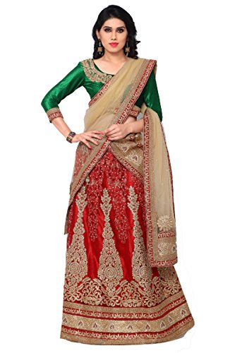 NAAIDAAKHO RED AND BEIGE COLOR LEHENGA CHOLI