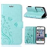 MOONCASE iPhone 4S Bookstyle Étui Fleur Housse en Cuir Case à Rabat pour iPhone 4 /...