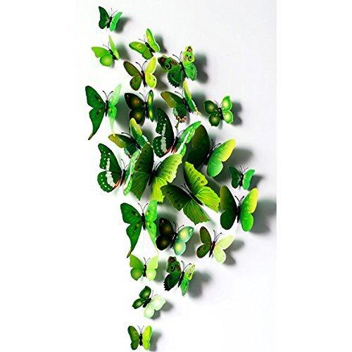 Vakind Abnehmbar Wandsticker Neu 3D- Wandaufkleber Wandtattoo Haus Dekor Zimmerschmuck 3D-Schmetterling (Grüne Hauptfarbe)