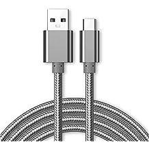 Kit Me Out ES Cable De Carga Micro USB [3M] para Microsoft Lumia 650, KMO, [3.1 A Cargador Rápida] Trenzado Nilón Nylon [USB 3.0 SuperSpeed USB] [Transferencia De Datos De Hasta 5 Gb/s] - Gris