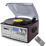 Best LP luces luces de vídeo - Bluetooth Tocadiscos LP Vinilo Record Reproductor CD/Cassette/Radio/USB Stereo Review