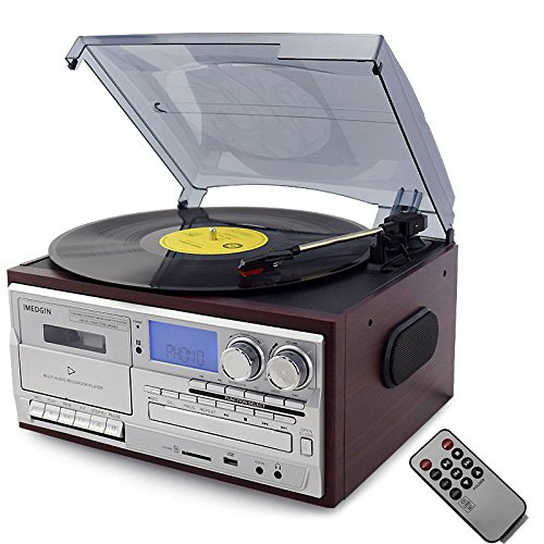 Bluetooth Tocadiscos LP Vinilo Record Reproductor CD/Cassette/Radio/USB Stereo Speakers Tocadiscos