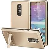 Fosmon® Samsung Galaxy Note 4 Funda [HYBO-ARMOR] Cubierta de doble híbrido desmontable Layer con soporte del retroceso para Samsung Galaxy Note 4 - Fosmon empaquetado al por menor (Oro)