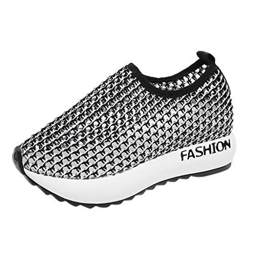 Damen Sneaker Mädchen Mode Laufschuhe Freizeit Leder Freizeitschuhe Sportschuhe mit Reißverschluss… (EU:37, Grau)