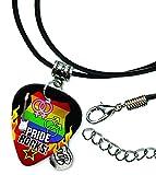 Gay Lesbian Pride Rocks Rock Plektrum Halskette Leder Schnur Necklace (R1)
