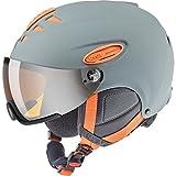 Uvex HLMT 300 – Casco de esquí unisex con visera, unisex, Hlmt 300 Visor, Grey-Orange Mat