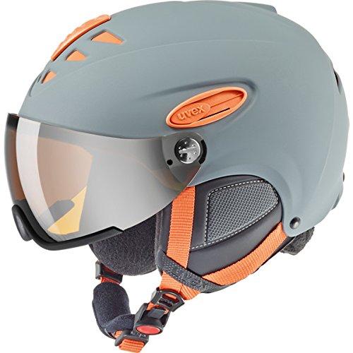 UVEX Erwachsene Hlmt 300 Visor Skihelm, Grey-Orange Mat, 53-56 cm
