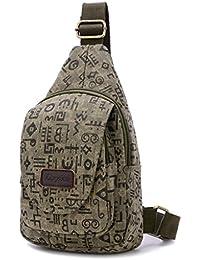 18ef82f730 Fortuning's JDS® Canvas casuale con la lettera stile borsa a tracolla  pacchetto petto borsa a