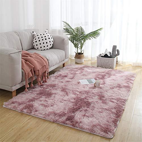 Alfombra de Pelo Largo para salón, Dormitorio y habitación de los niños, Pink Lila, 60x160cm