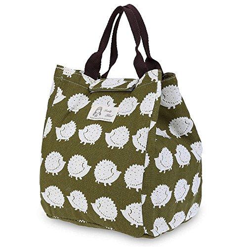 Wawj 5 stile cotone pranzo borsa termica pranzo tote cooler bag porta pranzo (riccio stampare)