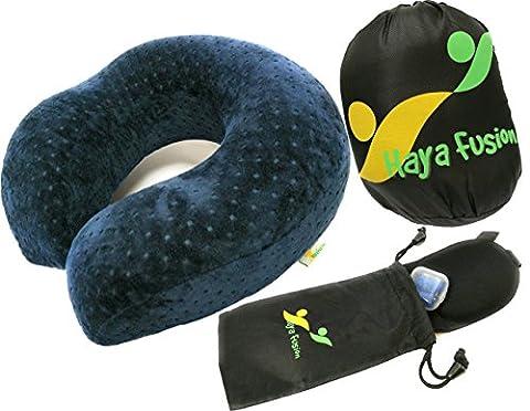 COUSSIN VOYAGE ❖ oreiller voyage à mémoire de forme + masque 3D occultant pour les yeux + bouchons d'oreilles │ OFFERT : pochettes rangement │ Set confort voyage COMPACT et