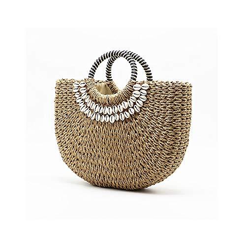 MSJMF Stroh-Frauen-handgemachte Einkaufstasche, natürliche Stroh-im Freienreisetasche Einzigartige Handtaschen für Frauen-Sommer-Strand-Tasche für Frauen/Mädchen