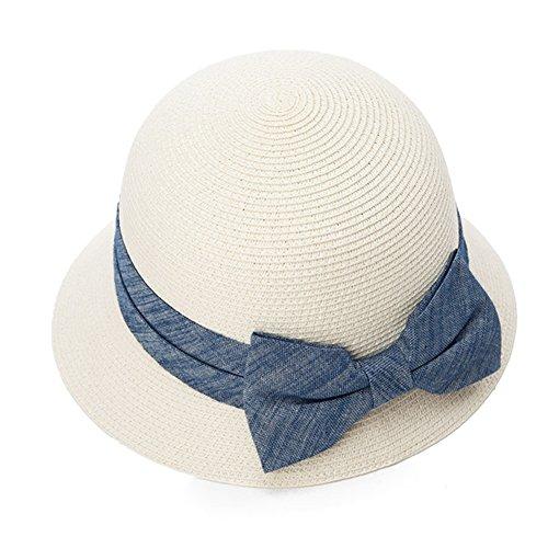 ZHANWEI Sonnenhüte Strand hut UPF50 + Sommersaison Frau Strohhut Cellulosefaser UV-Schutz Sonnenschutz Kuppel Einstellbar Zusammenklappbar Beige Weiß 57 cm ( Farbe : Weiß )