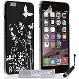 Yousave Accessories Floral Butterfly Hard Cover Fall mit Mini Eingabestift für iPhone 6Plus–schwarz/silber