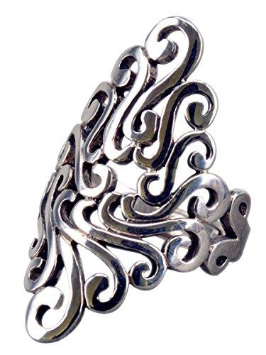 NicoWerk Silberring Ethno Vintage Breit Durchlöchert Ring Silber 925 Verstellbar Damenringe Damen Schmuck Sterling SRI208