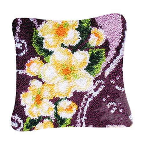 Baoblaze Knüpfkissen Kissenbezug Knüpfhaken Knüpfset Kissen Blumenmuster für Kinder und Erwachsene zum Selber Knüpfen Kissen Latch Hook Kit -