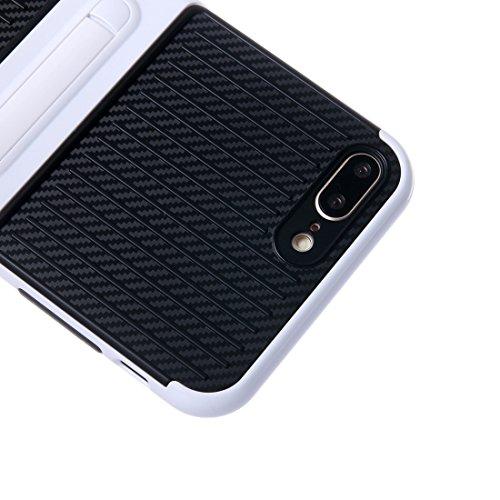 Hülle für iPhone 7 plus , Schutzhülle Für iPhone 7 Plus Shockproof TPU + PC Schutzhülle mit Halter ,hülle für iPhone 7 plus , case for iphone 7 plus ( Color : Black ) White