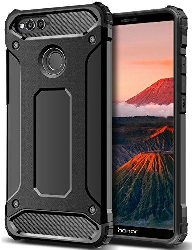 Honor 7X Hülle, Coolden Premium [Armor Serie] Outdoor Stoßfest Handyhülle Silikon TPU + PC Bumper Cover Doppelschichter Schutz Hülle für Huawei Honor 7X (Schwarz)