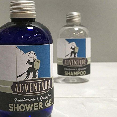 Aventura Juego de Gel de ducha y champú 100ml incienso y pomelo, hecha a mano en el Reino Unido