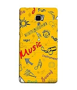 PrintVisa Designer Back Case Cover for Xiaomi Redmi 1S :: Xiaomi Hongmi 1S (Music Design In Yellow)