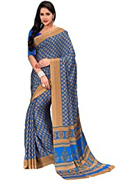 Salwar Studio Women's Blue & Beige Italian Creape Floral Printed Saree With Blouse Piece