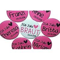 Menge individuell ausw/ählbar 50mm JGA-Button Set Ansteckbutton Hochzeit-Junggesellenabschied gro/ß Motiv: Frau