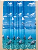 Beautiful extra long shower curtain Wide 240cm x Length 200cm rings included (Dolphin) (W240 x L200cm) by beytug