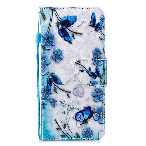 ShinyCase Handyhülle für Samsung Galaxy A6+ /A6 Plus Hülle Brieftasche PU Schutz Etui Leder Flip Blauer Schmetterling Muster Cover mit Kartenfach Magnet Bookstyle Wallet Case Tasche Handytasche - Schmetterling Lang Wallet