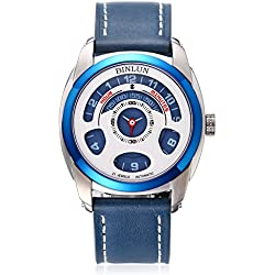 BINLUN Unique Men's Mechanical Watch Cool Automatic Blue Leather Strap Watches Japanese Movement