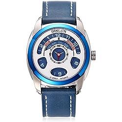 binlun Herren blau Japanische 21-jewel Automatische Mechaniker Einzigartige futuristische Design Leder Strap Armbanduhr