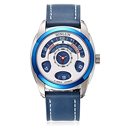 Binlun Men's Blue Japanese 21-Jewel Automatic Mechanic Unique Futuristic Design Leather Strap Watch